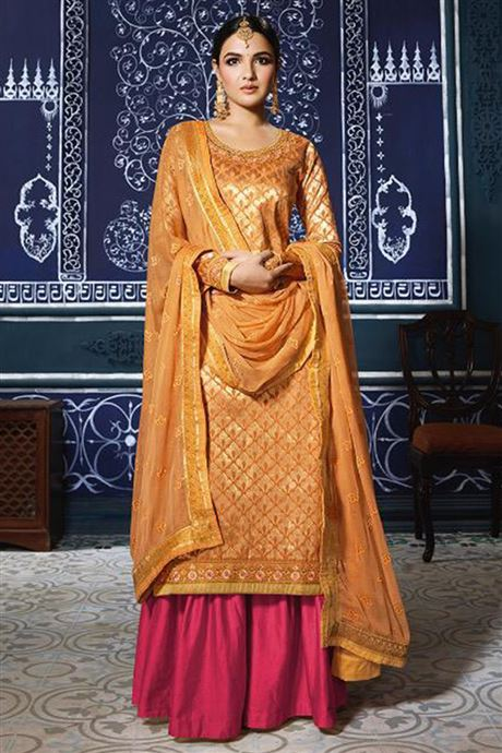Designer Semi Stitch Salwar Suits Catalog Sharara Salwar Kameez .