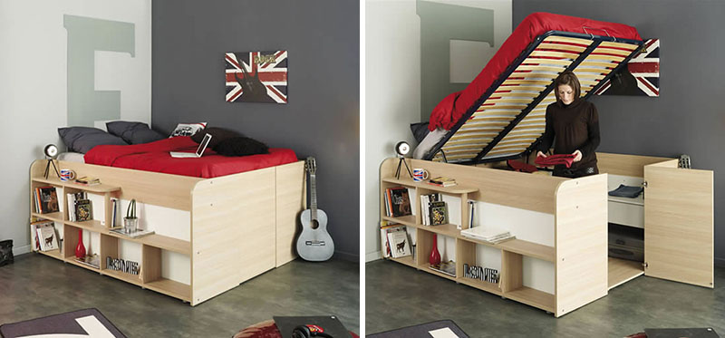 Clever Bed Designs With Integrated Storage For Max Efficien