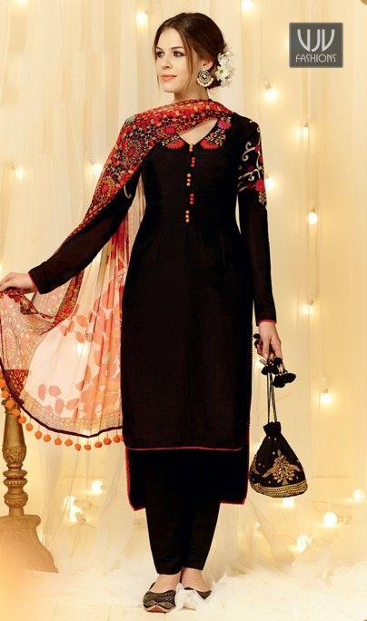 Intricate Black Embroidered Work Designer Straight Salwar Suit .