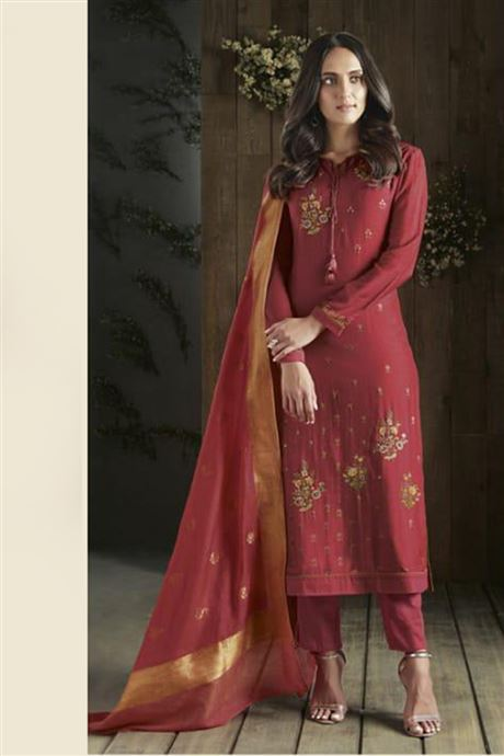 Cotton Jaquard Embroidered Party Wear Straight Salwar Suits .