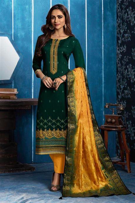 Wholesale Ladies Straight Salwar Kameez Catalogue Supplier Silk .