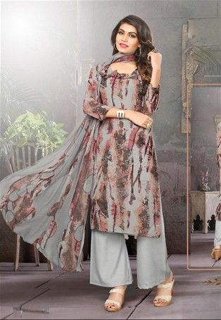 Grey,Brown Georgette Printed Straight Salwar Suit #casualsuit .