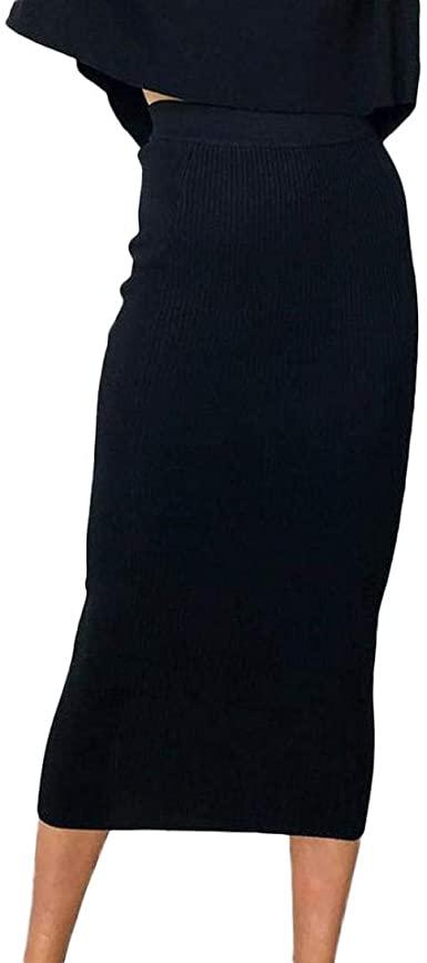 TOPUNDER Sexy High-Waist Bodycon Skirt for Women Solid Long Hip .