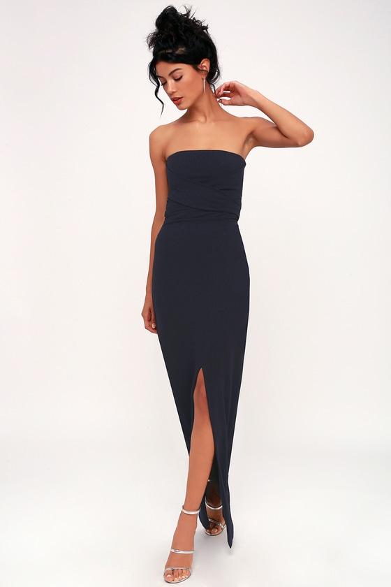 Lovely Navy Blue Dress - Strapless Dress - Maxi Dress - Go