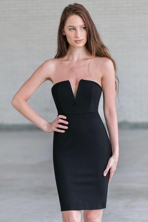 Little black dress | Black strapless cocktail dress | Lily Boutiq