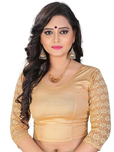 Buy PRE SMART Women's Cotton Stitched Stretchable Blouses (Gold .