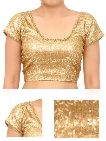 Golden stretchable Sequin Blouse | Sequin blouse, Blouse designs .