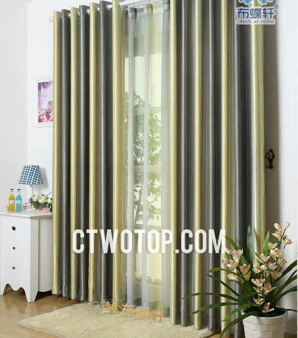 Fashion Green Striped Curtains of High Quality and Cheap Pri