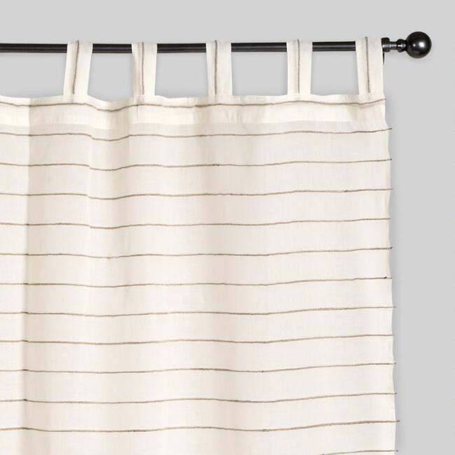 Ivory Striped Sahaj Jute Curtains, Set of 2 | World Mark