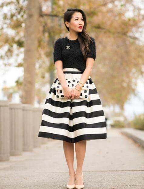 Black And White Stripe High Waist A-line Skirt | Fashion, Stripe .