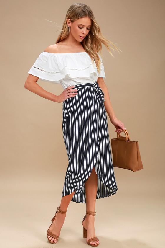 Cute Blue and White Skirt - Striped Skirt - Wrap Skirt - Midi .