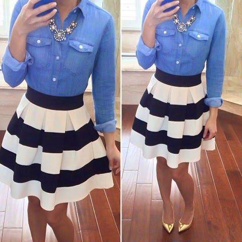 18 Ways To Wear A Striped Skirt 2020 | FashionGum.c