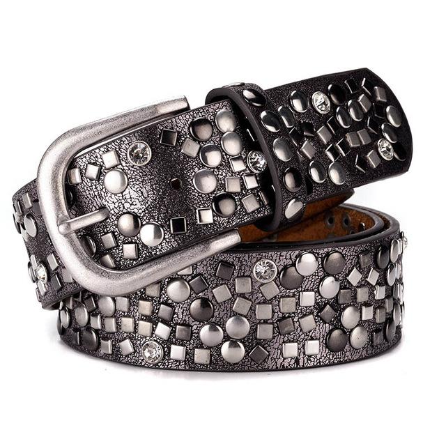 Split Leather + PU Rivet Belt Fashion Rhinestone Women's Studded .