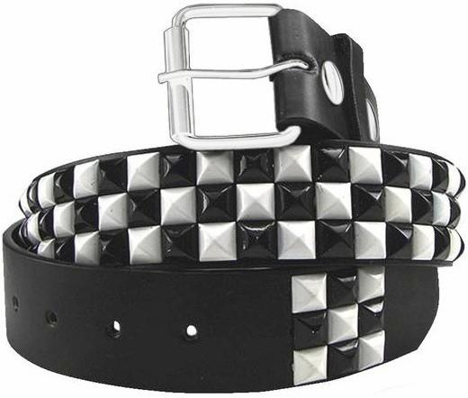 Black & White Checkerboard Pyramid Studded Leather Belt – Bewi