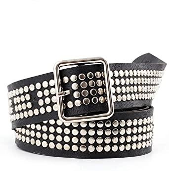 Studded belt For Women 80s Stud Black Leather Metal Belt For Dress .