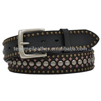 Mens Western Black Genuine Leather Studded Belts - Buy Leather .