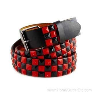 emo studded belts | Metal Pyramid Studded Leather Belt 2 Tone .