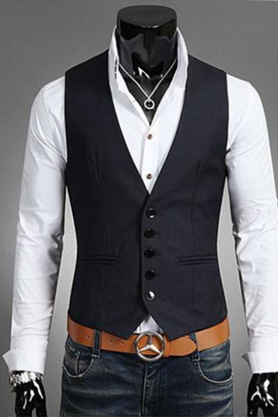 Men's Solid Color Single Breasted Slim Fitted Business Suit Vest .