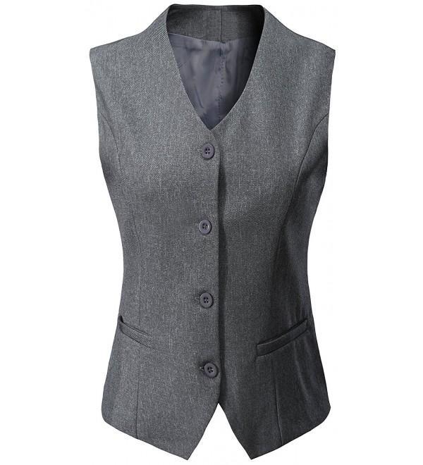 Women's Fully Lined 4 Button V-Neck Economy Dressy Suit Vest .