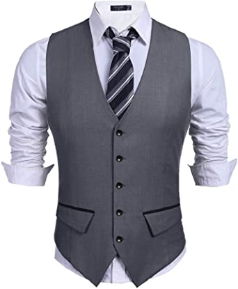 COOFANDY Men's Business Suit Vest Slim Fit Dress Vest Wedding .