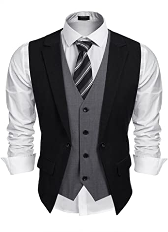 Coofandy Mens Formal Fashion Layered Vest Waistcoat Dress Suit .