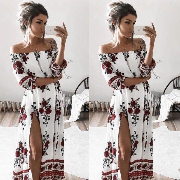 Shop Boho Style Long Dress Women Half Sleeve Off Shoulder Beach .