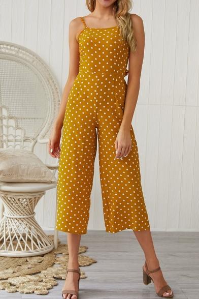 Women's Summer New Polka Dot Printed Bow Back Sleeveless Wide Legs .