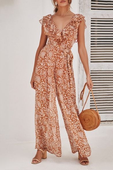 Summer Holiday Chic Floral Printed Ruffled V-Neck Casual Wide-Leg .