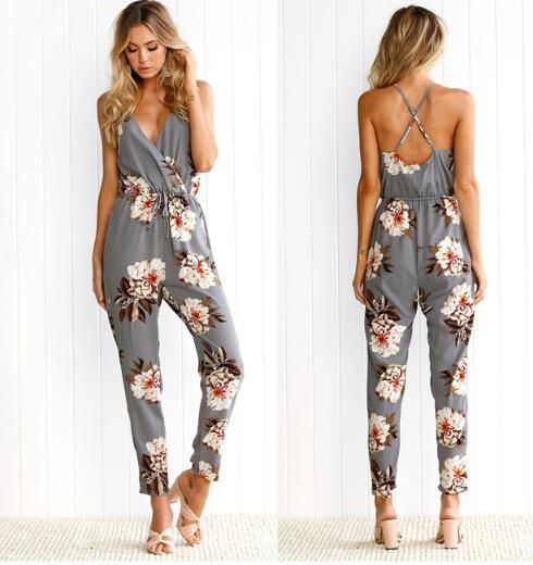New Arrival Spaghetti Straps Floral Print Jumpsuit Romper for .