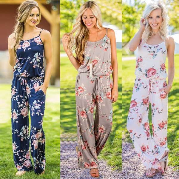 Buy Womens Summer Jumpsuits Full Length Rompers Floral Printed .