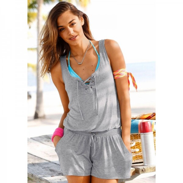 Buy Gray Sleeveless Rompers Jumpsuits Summer Clothing For Women .
