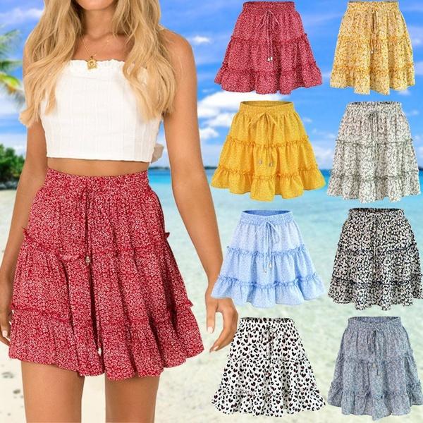 Women's Fashion Floral Print Mini Skirts Ladies Summer Casual High .