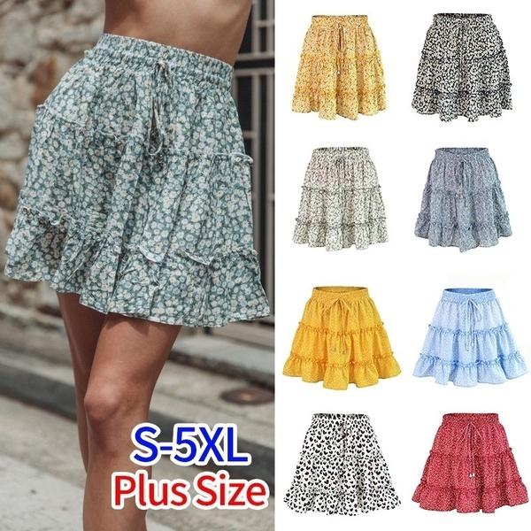 Loose Chiffon Skirt Women Summer Ruffled Floral Skirt Printed .