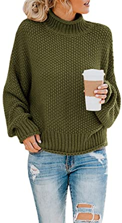 Saodimallsu Womens Turtleneck Oversized Sweaters Batwing Long .