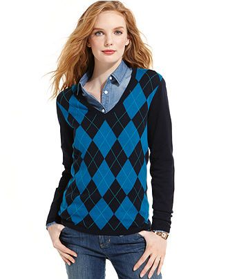 Tommy Hilfiger V-Neck Argyle Sweater - Sweaters - Women - Macy's .