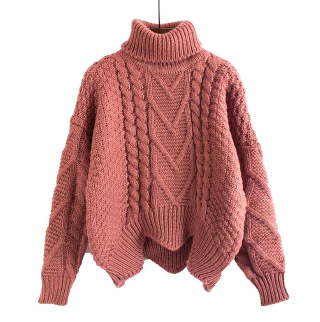 Winter loose sweater women pullover short bat sleeves lazy wind .
