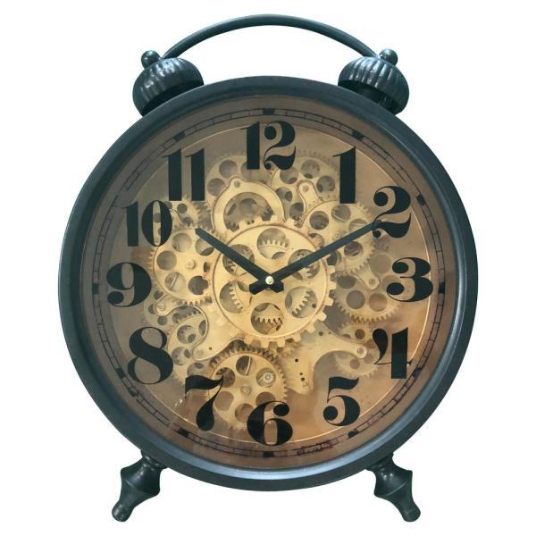 Yosemite Home Decor Black and Brass Gear Table Top Clock 5120010 .