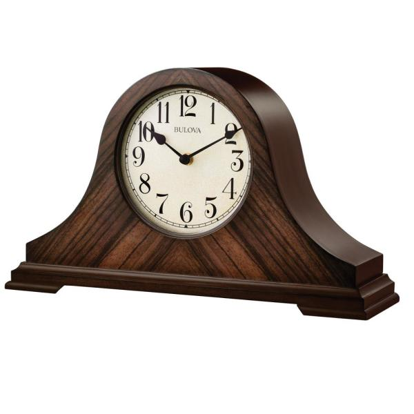 Bulova 9 in. H x 15.25 in W Walnut Traditional Table Clock with .