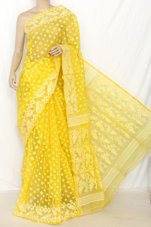 Deep Yellow Handwoven Bengal Kora Tant Cotton Saree (Without .