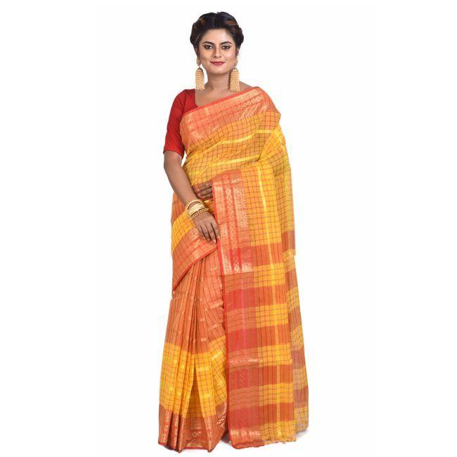 TJCART | Womens Handloom Santipuri Tant Saree by T.J.SAREES (Yello