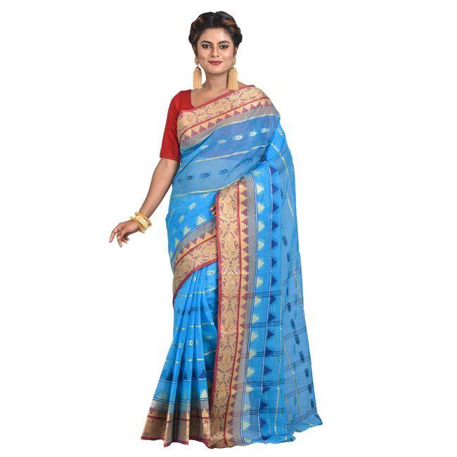 TJCART | Womens Handloom Santipuri Tant Saree by T.J.SAREES (Blu