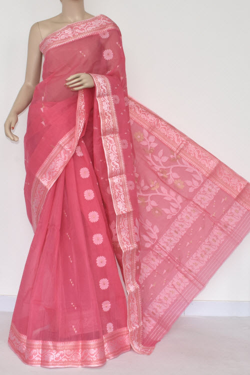 Pink Handwoven Bengal Tant Cotton Saree (Without Blouse) 14008 .