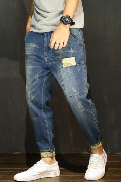 Men's New Fashion Distressed Patchwork Relaxed Fit Tapered Jeans .