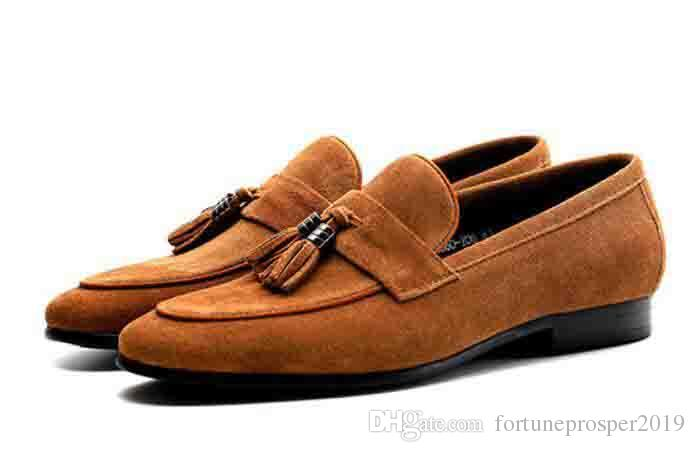 Fashion Tassel Loafers Shoes Gentleman Luxury Suede Casual Stress .