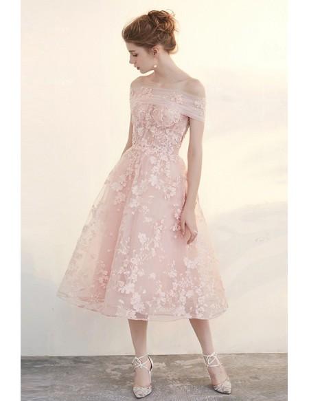 Blush Tea Length Wedding Dresses Off The Shoulder Beautiful .