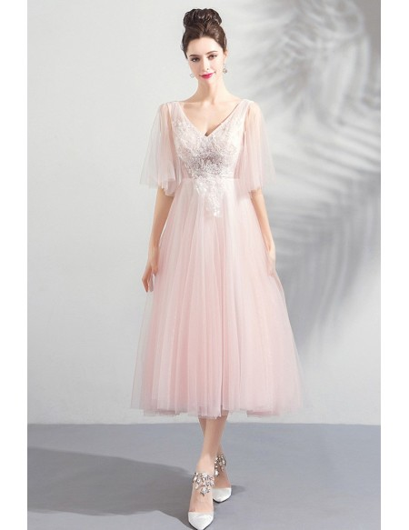Elegant Peachy Pink Tulle Tea Length Wedding Party Dress With .
