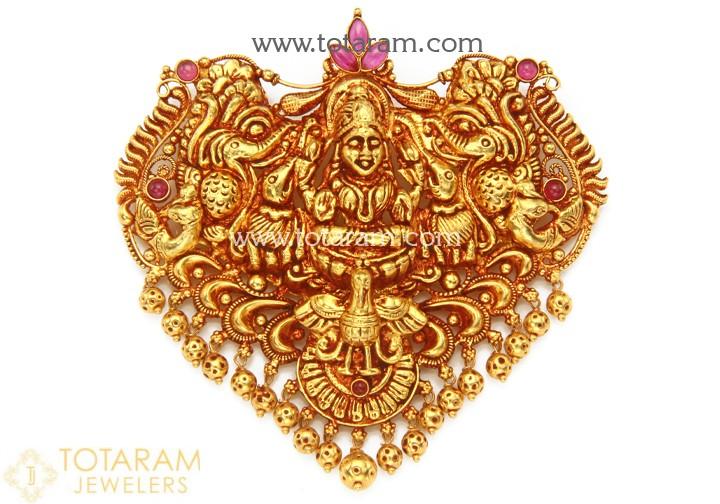 22K Gold 'Gaja Lakshmi' Pendant with Beads (Temple Jewellery .