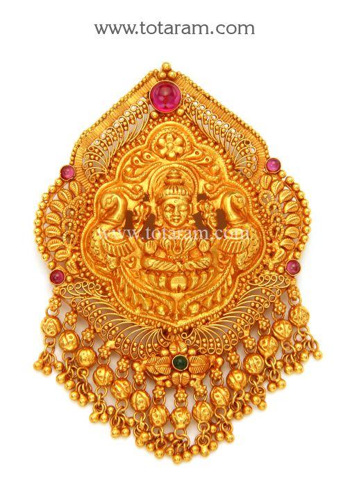 22K Gold 'Lakshmi' Pendant (Temple Jewellery) | Gold jewellery .
