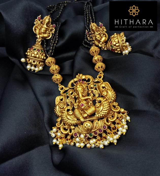 Hithara - MAtt finish Temple Jewellery with Ganesha Penda