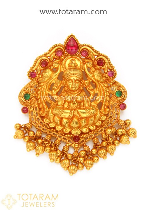 22K Gold 'Lakshmi' Pendant with Beads (Temple Jewellery) - 235 .